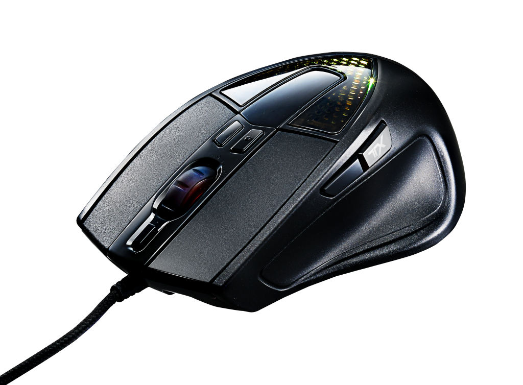 01. Ergonomic palm grip mouse designed for FPS gaming with improved sensor, 32-bit ARM processor and 512KB on-board memory, and OLED text display customizable by software on the Sentinel